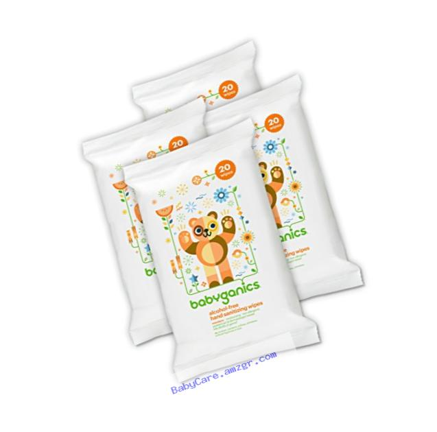 Babyganics Alcohol-Free Hand Sanitizing Wipes, Mandarin, On-The-Go, 20 count reseal pack (Pack of 4)