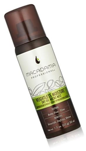 Macadamia Professional Weightless Moisture Dry Oil Micro Mist - 1.5 oz. - Baby Fine to Fine Hair Textures - Adds Shine & Controls Frizz - Sulfate, Gluten & Paraben Free, Safe for Color-Treated Hair