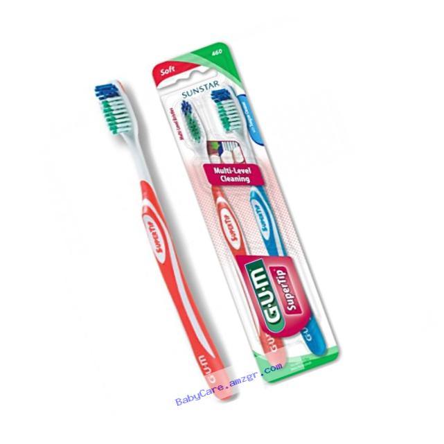 Sunstar 460VPG GUM Super Tip Toothbrush, Full Soft Bristle, Value Pack