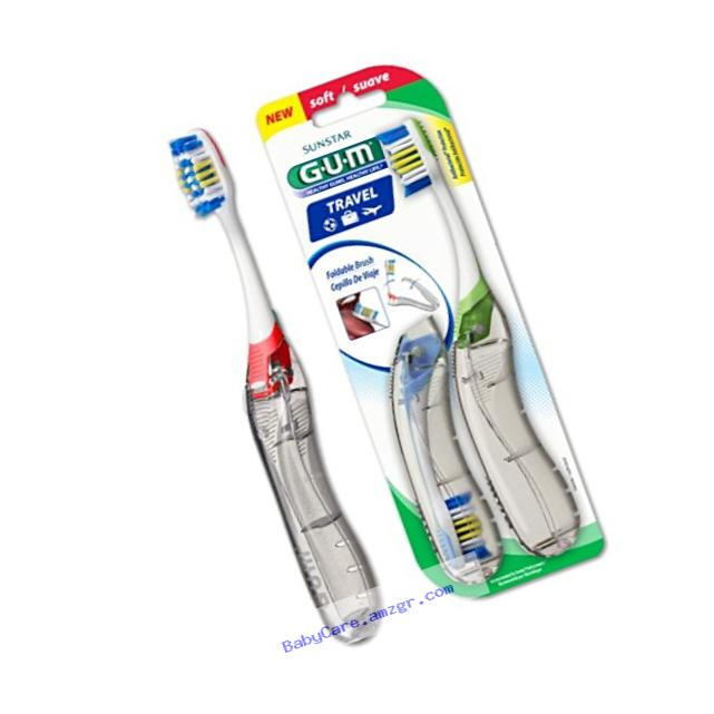 Sunstar 153V GUM Travel Toothbrush, Multi-Level Antibacterial Bristle, Value Pack